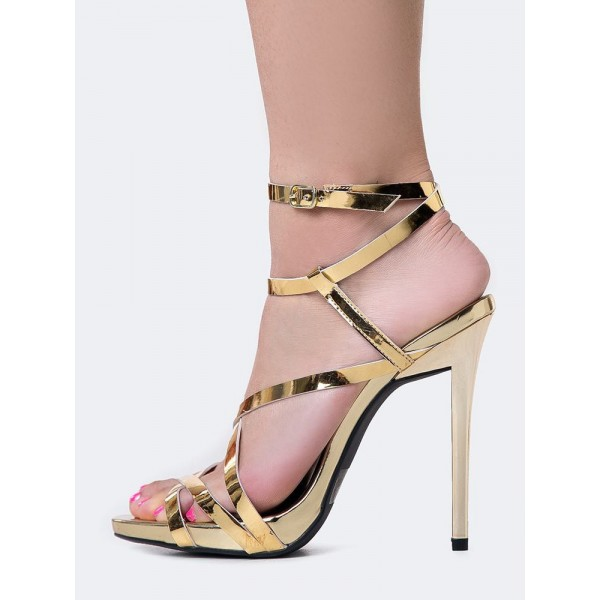 Women's Gold Sexy Strappy Sandals Open Toe Stiletto Heels image 3