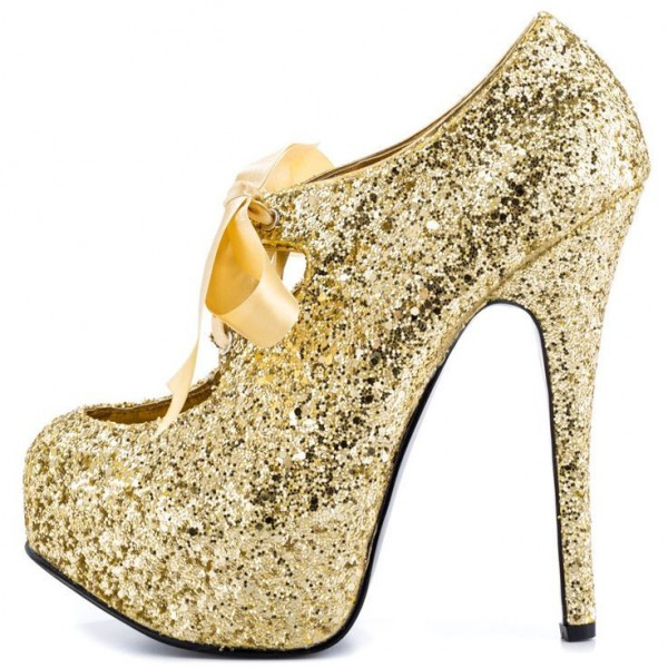 Gold Glitter Shoes Sparkly Lace up Ankle Booties with Platform image 1