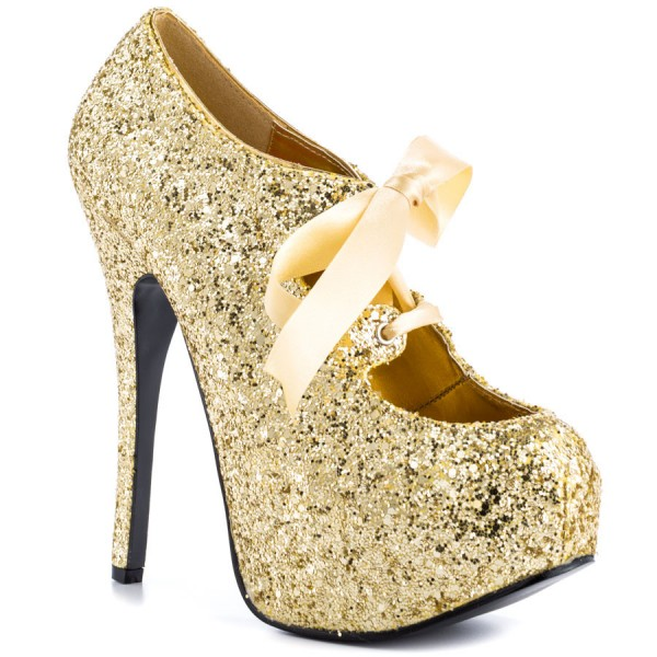 Gold Glitter Shoes Sparkly Lace up Ankle Booties with Platform image 2