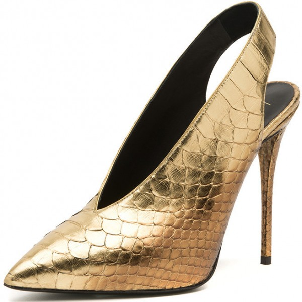 Golden Python Slingback Pumps Pointy Toe Stiletto Heels Shoes image 1