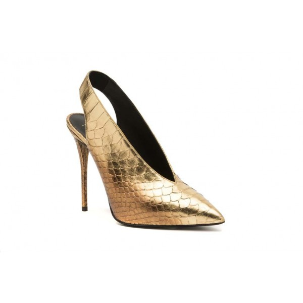 Golden Python Slingback Pumps Pointy Toe Stiletto Heels Shoes image 2
