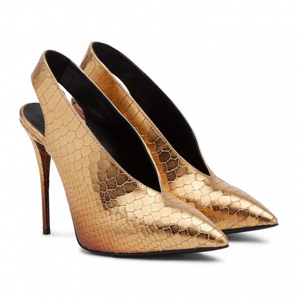 Golden Python Slingback Pumps Pointy Toe Stiletto Heels Shoes image 3