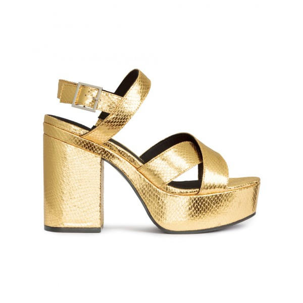 Women's Golden  Ankle Strap Buckle Platform Chunky Heel Sandals image 2