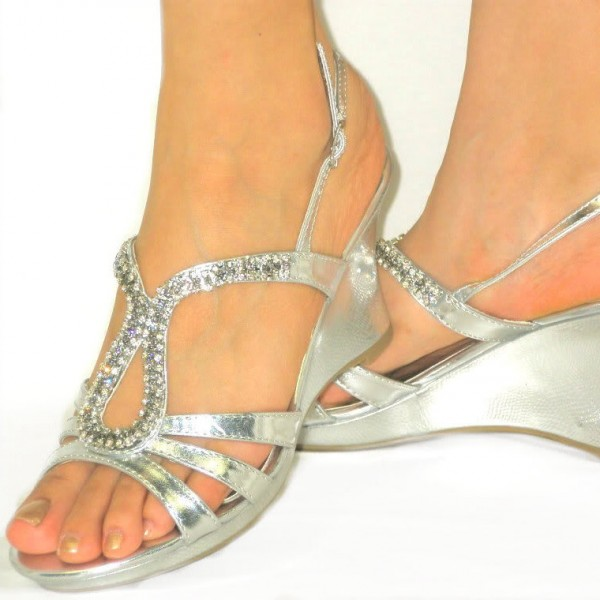 Silver Prom Shoes Rhinestone Wedge Sandals Evening Shoes image 1