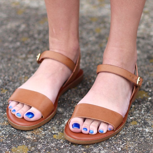 Tan Sandals Open Toe Summer Flat Sandals image 1