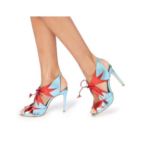 Blue Lace up Sandals Slingback Lace up Heels for Women image 2