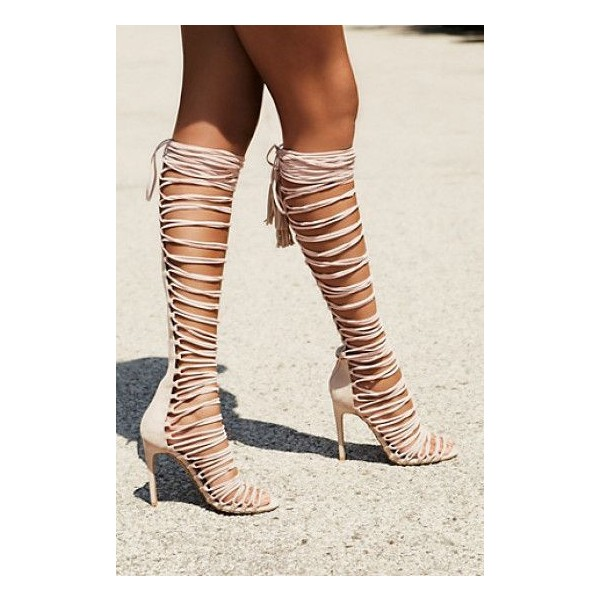 Nude Strappy Sandals Stiletto Heels for Sexy Ladies image 3