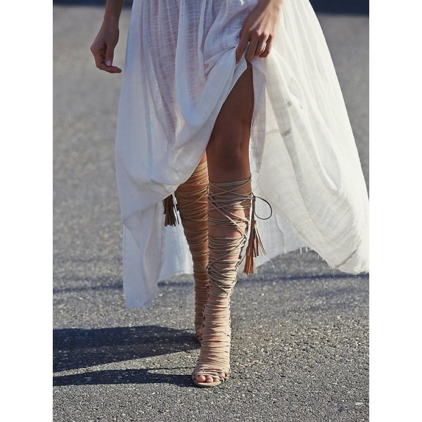 Nude Strappy Sandals Stiletto Heels for Sexy Ladies image 4