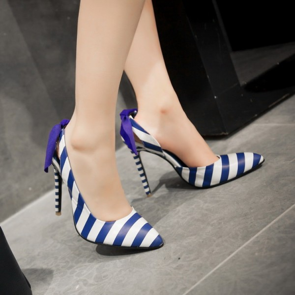 Blue and White Heels Plaid Slingback Pumps Stiletto Heels with Ribbon image 3