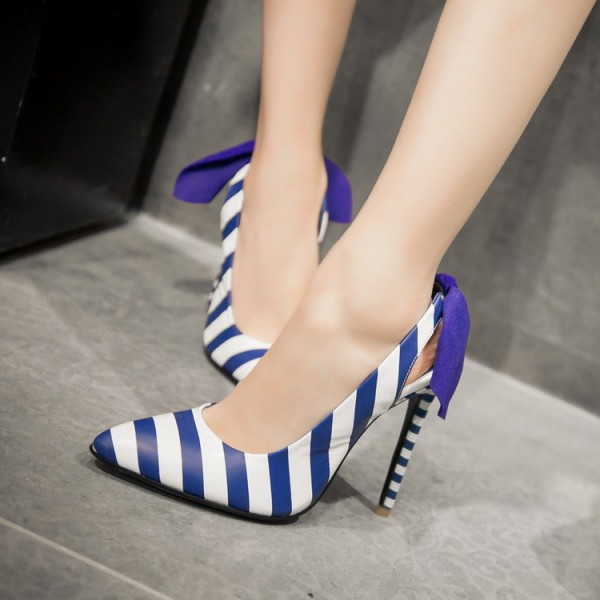 Blue and White Heels Plaid Slingback Pumps Stiletto Heels with Ribbon image 1