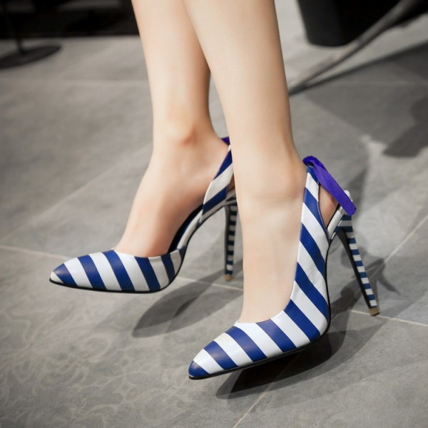 Blue and White Heels Plaid Slingback Pumps Stiletto Heels with Ribbon image 4