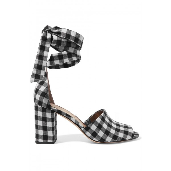 Women's Black and White Plaid Printed Strappy Chunky Heels Sandals image 2