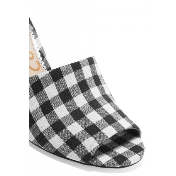 Women's Black and White Plaid Printed Strappy Chunky Heels Sandals image 3