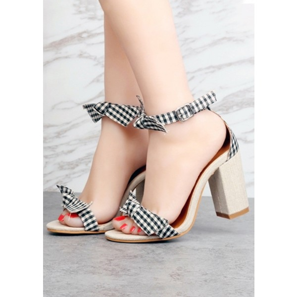 Black and White Block Heel Sandals Plaid Ankle Bow Heels image 2