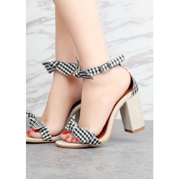Black and White Block Heel Sandals Plaid Ankle Bow Heels image 3
