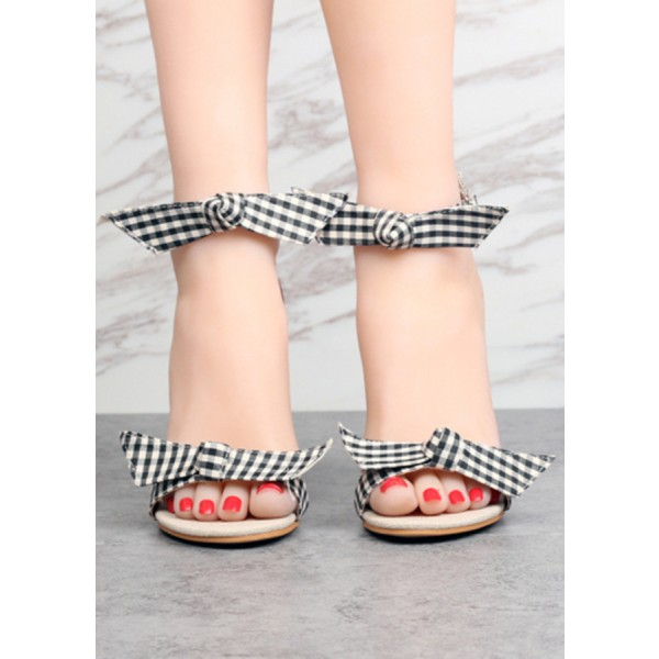 Black and White Block Heel Sandals Plaid Ankle Bow Heels image 4