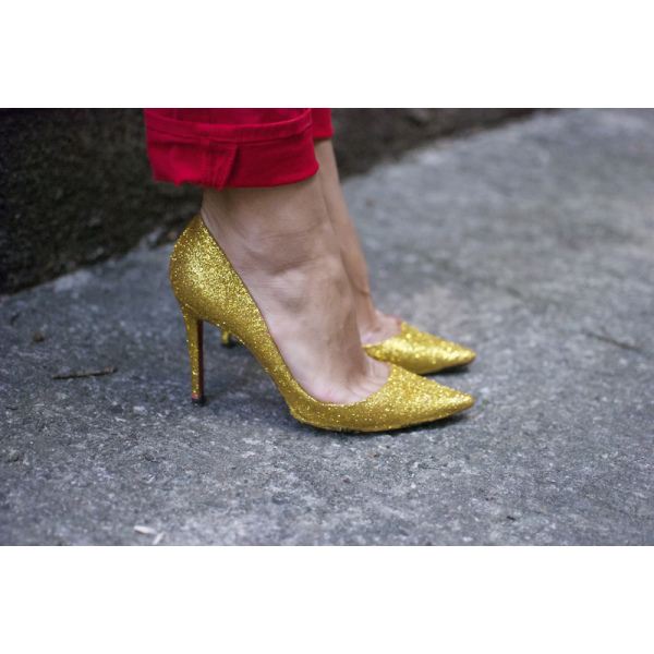 Gold Sparkly Heels Glitter Pointy Toe Stiletto Kitten Pumps Heels  image 4
