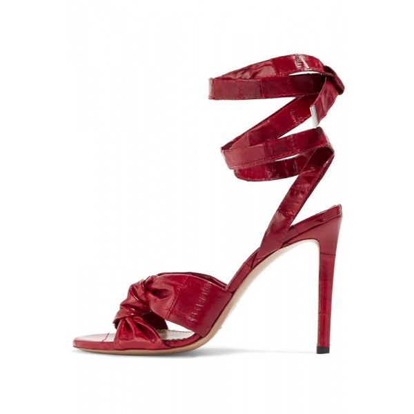 Burgundy Heels Open Toe Strappy Stiletto Heel Sexy Sandals image 1