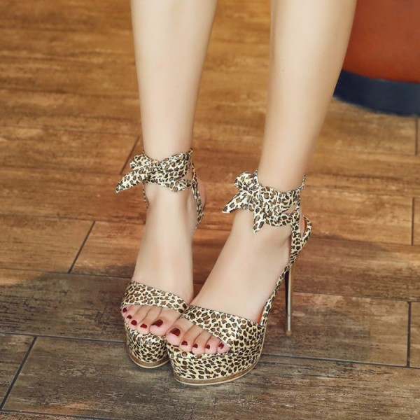 Leopard Print Heels Lace up Sandals Platform Stiletto Heels for Women image 2