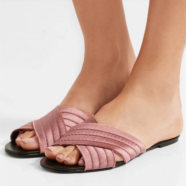 Plum Women's Slide Sandals Open Toe Flat Summer Slides Shoes image 1