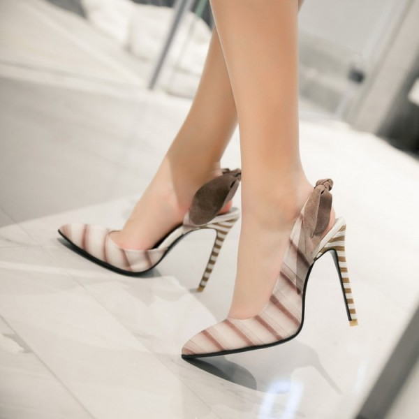 White and Brown Slingback Pumps Stiletto Heel Pointy Toe Bow Heels image 3