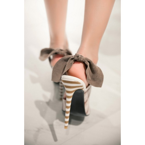 White and Brown Slingback Pumps Stiletto Heel Pointy Toe Bow Heels image 2