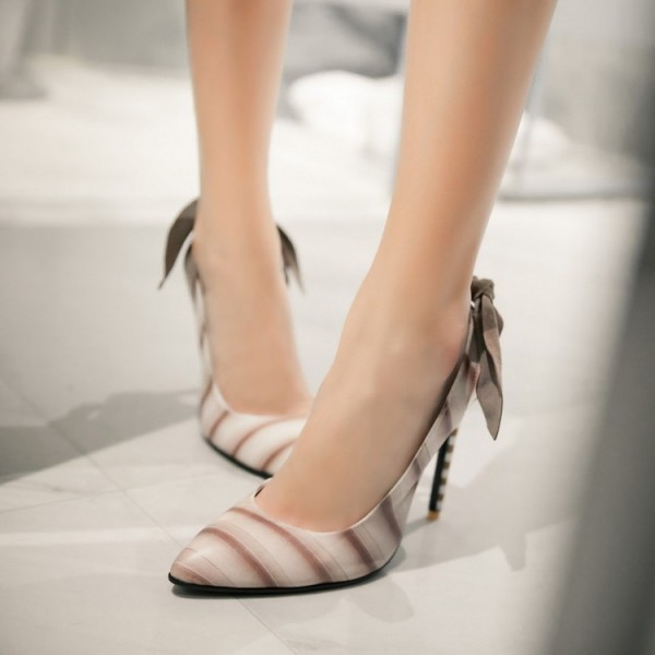 White and Brown Slingback Pumps Stiletto Heel Pointy Toe Bow Heels image 1