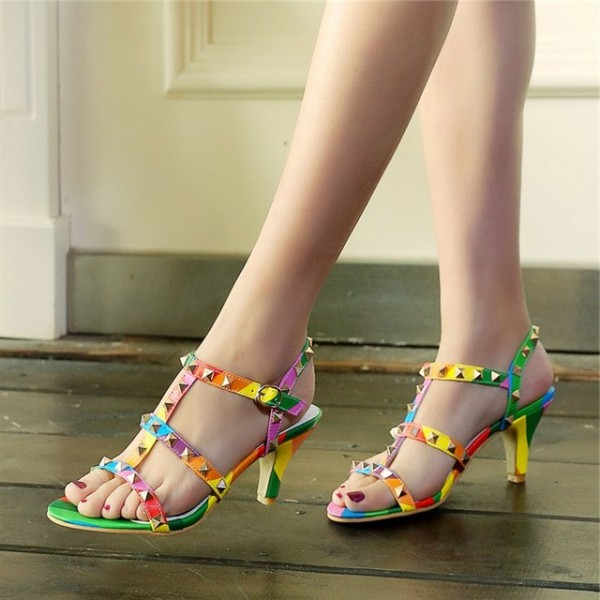 Women's Colorful with Metal Chunky Heels Open Toe  T-Strap Sandals image 1