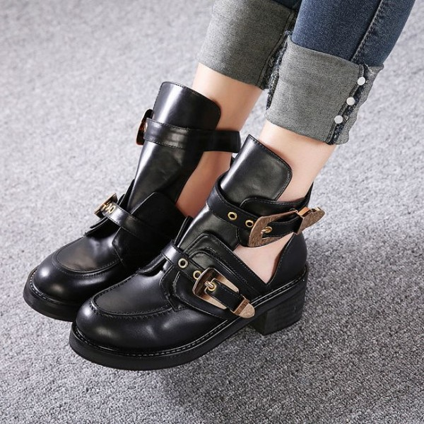 Black Buckle Boots Round Toe Low Heel Cut out Ankle Boots image 1