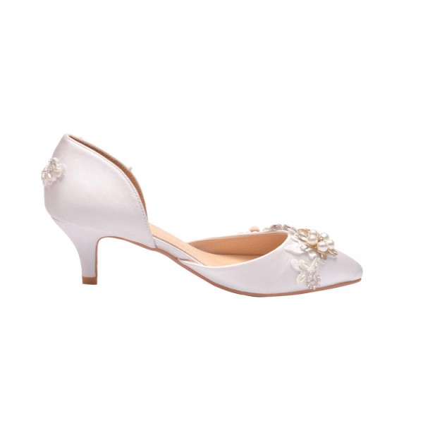 Women's White Low-cut Uppers Pearl Pointed Toe Kitten Heels Wedding Shoes  image 2