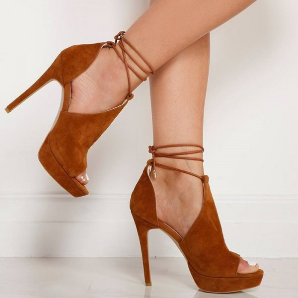 Women's Tan Platform Sandals Strappy Heels Suede Stiletto Heels Shoes image 2