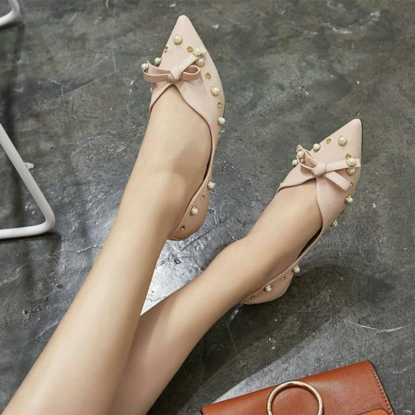 Pink Pointy Toe Flats Pumps Decorated with Pearl and Bow image 2