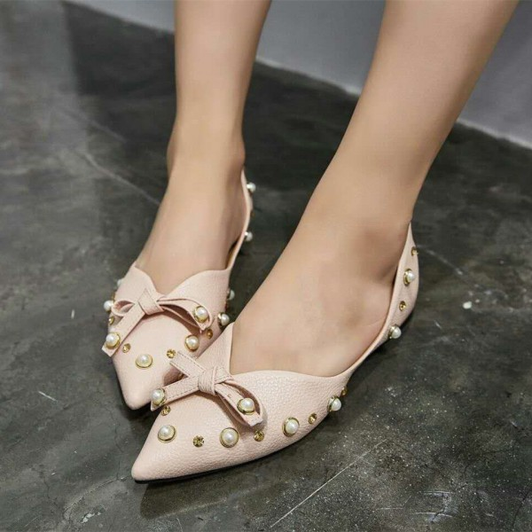 Pink Pointy Toe Flats Pumps Decorated with Pearl and Bow image 1