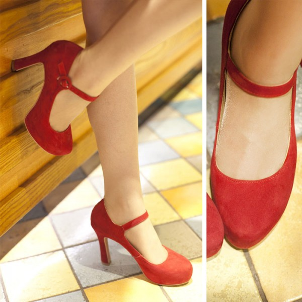 Women's Red Suede Mary Jane Pumps Chunky Heels Vintage Shoes image 2