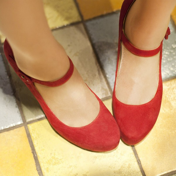 Women's Red Suede Mary Jane Pumps Chunky Heels Vintage Shoes image 3