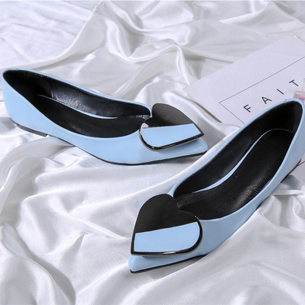 Women's Blue Pointed Toe Comfortable Flats with Heart Shape Pattern image 3