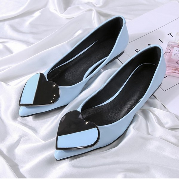 Women's Blue Pointed Toe Comfortable Flats with Heart Shape Pattern image 4