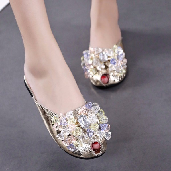 Women's Silver with Rhinestone Key Hole Mules Summer Sandals   image 2