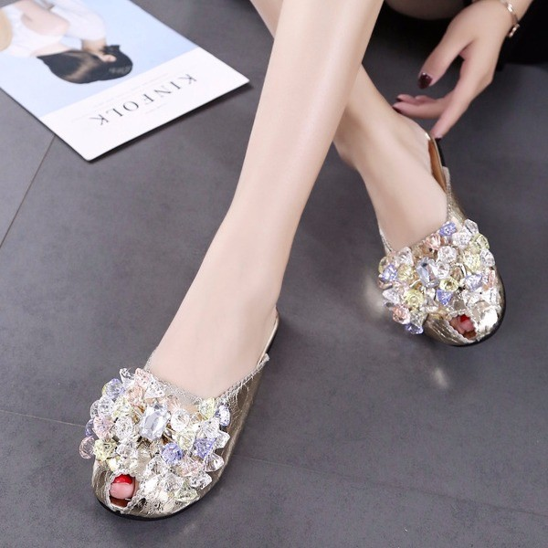Women's Silver with Rhinestone Key Hole Mules Summer Sandals   image 1
