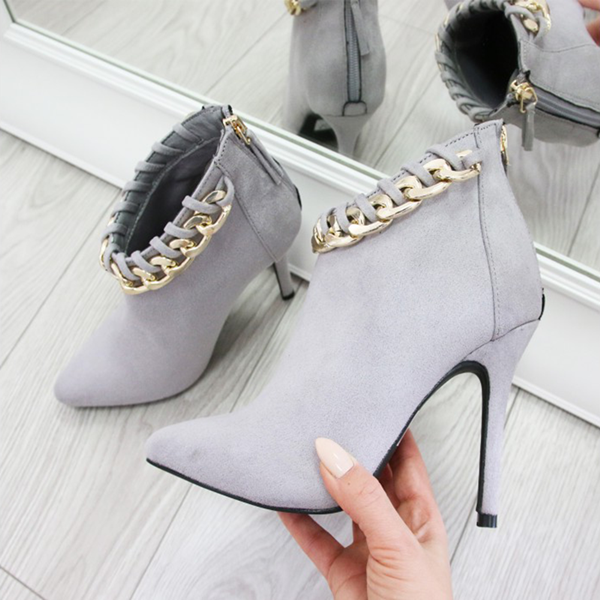 Grey Fashion Boots Suede Pointy Toe Stiletto Booties with Metal Chains image 1