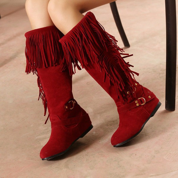 Red Fringe Boots Suede Flat Knee Boots for Women image 1
