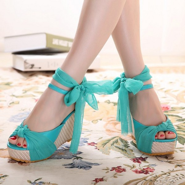 Women's Cyan Voile Lace Bow Wedge Heels Peep Toe Sandals image 1