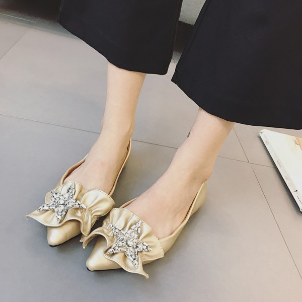 Women's Gold Pointed Toe Ruffle Comfortable Flats With Starfish Rhinestone image 1