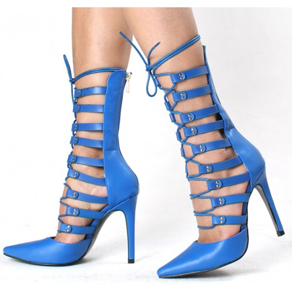 Cobalt Blue Shoes Pointy Toe Mid Calf Lace up Gladiator Heels  image 1