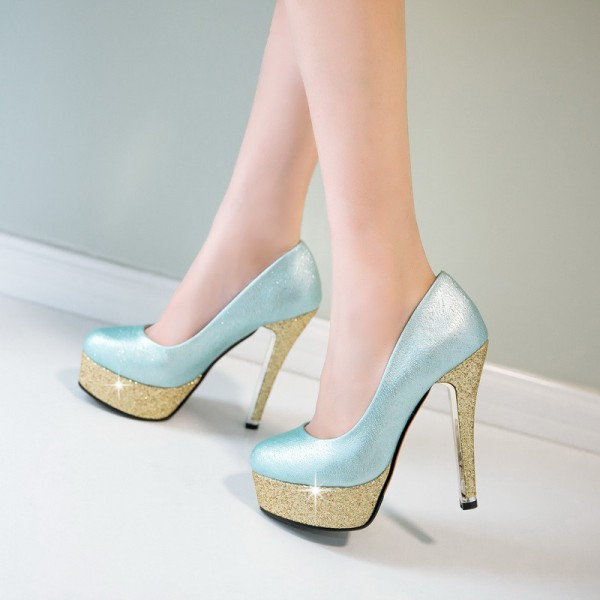 Turquoise and Gold Glitter Shoes Platform Pumps High Heel Shoes image 1