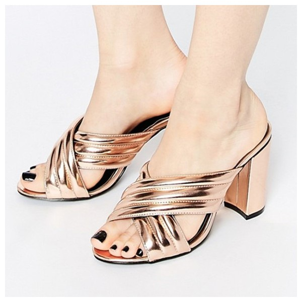 Golden Cross Strap Summer Sandals Open Toe Chunky Heel Mules image 1