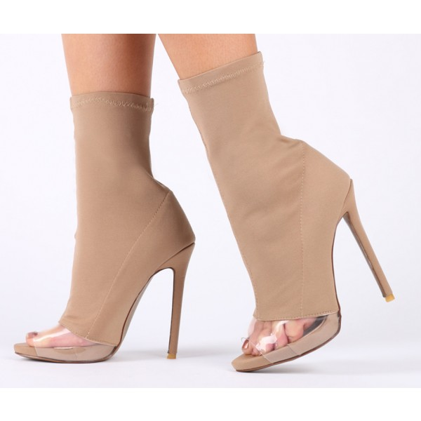 Nude Stiletto Boots Peep Toe Clear Heeled Sock Boots image 1