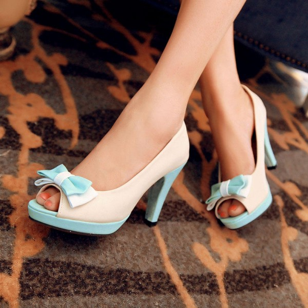 Ivory and Aqua Shoes Peep Toe Chunky Heel Pumps Cute Bow Heels image 1