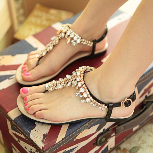 Black Rhinestone Flats Open Toe Jeweled Summer Sandals Beach Shoes image 1
