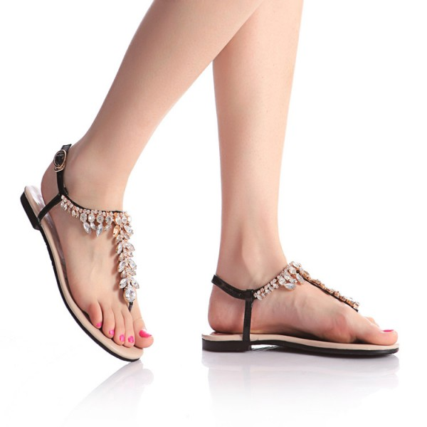 Black Rhinestone Flats Open Toe Jeweled Summer Sandals Beach Shoes image 4
